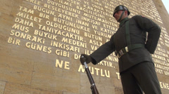 Ankara, Turkish soldier stands guard at Atatürk Mausoleum Stock Footage