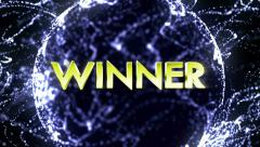 WINNER 3D Gold Text in Particles Stock Footage