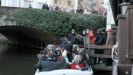 People in Tourist boat in Bruges, Belgium Stock Footage