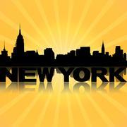 New Yorkin horisonttiin heijastuu sunburst kuva Piirros