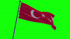 Turkey Flag with greenscreen and alpha Stock Footage