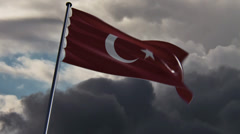 Turkey Flag, HQ animated on an epic doomy background Stock Footage