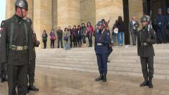 Soldiers perform changing of the guards ceremony at Atatürk mausoleum Turkey Stock Footage