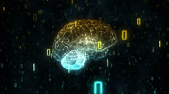 Digital computer brain in binary cloud Stock Footage