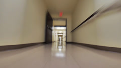 Fast walk in building corridors. POV. Stock Footage