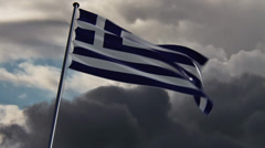 Greece Flag, HQ animated on an epic doomy background Stock Footage