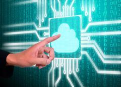 lcd screen matrix circuit of cloud symbol - stock illustration