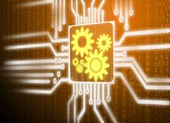 lcd screen matrix circuit of gear symbol - stock illustration