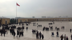 Ankara, Turkey, overview of people visiting Atatürk Mausoleum Stock Footage