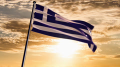 Greece Flag, HQ animated on an epic sunset background Stock Footage