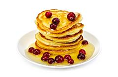 flapjacks with cranberry and honey - stock photo