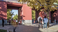 The park gate and the visitors, Beijing, China Stock Footage