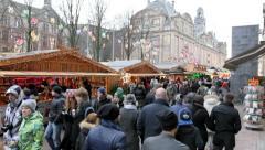Christmas market at Damrak Street, Amsterdam, Netherlands. Stock Footage