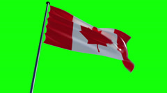Canada Flag with greenscreen and alpha Stock Footage