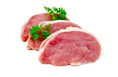 meat pork slices with parsley - stock photo