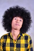 Close up Grunge human face emotion - stock photo