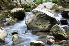 stream water with rocks spring season - stock photo