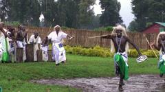 Tribal dancers of the masai tribe in Rwanda Stock Footage