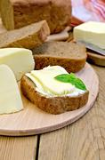 Sandwich with cheese suluguni and basil Stock Photos