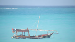 Dhow on Turquoise Ocean Stock Footage
