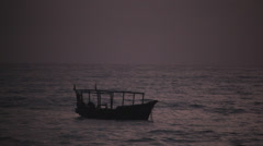 Boat on Ocean at Twilight Stock Footage