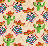 Mexican pattern with cactus, hat and chill illustration over background. Stock Illustration