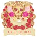 Stock Illustration of skull and flowers day of the dead