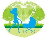 Stock Illustration of beautiful  woman pushing a stroller
