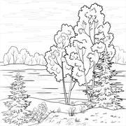 Landscape. Forest river, outline Stock Illustration