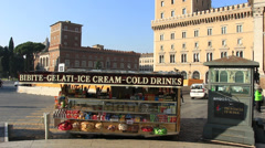 Cold drinks & ice cream van in heart of Rome (dolly shot) Stock Footage