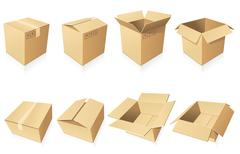 blank cardboard  boxes - stock illustration