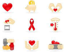 donation and charity icons - stock illustration