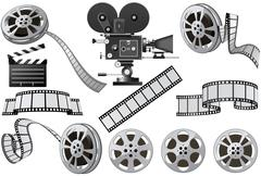 Film industry attributes - film, movie camera and film slate Stock Illustration