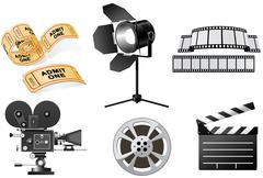 film industry - movie camera and film slate - stock illustration