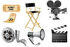megaphone, movie camera and film slate - stock illustration