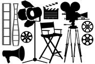 Stock Illustration of film industry silhouette icons