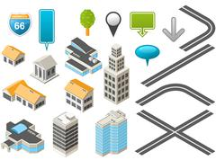 Map toolkit with isometric buildings and roads Stock Illustration