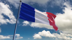 France Flag, HQ animated on an epic background Stock Footage