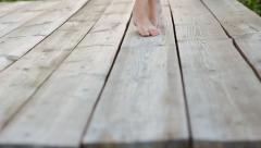 Girl Dance Walking Barefoot on Wooden Deck HD Stock Footage