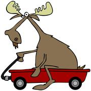 Moose in a red wagon Stock Illustration
