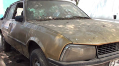 0971 Abandoned Peugeot car Stock Footage