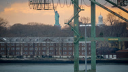 Stock Video Footage of Statue of Liberty at sunset