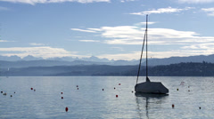 Boat on the lake of Zurich / Switzerland Stock Footage