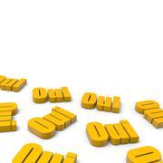 Many yes french orange text Stock Illustration