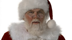 A close up of Santa saying ho ho ho  on a white background Stock Footage