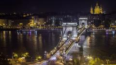 Nightly River Cityscape Timelapse v2 Stock Footage