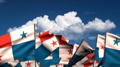Waving Panamanian Flags Stock Footage
