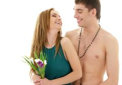 couple in love with flowers - stock photo