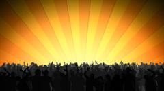 LOOPING Rock concert crowd dancing and jumping with sunrise in the background Stock Footage