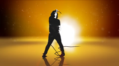 Beautiful light rays shine past this silhouetted singer. Stock Footage